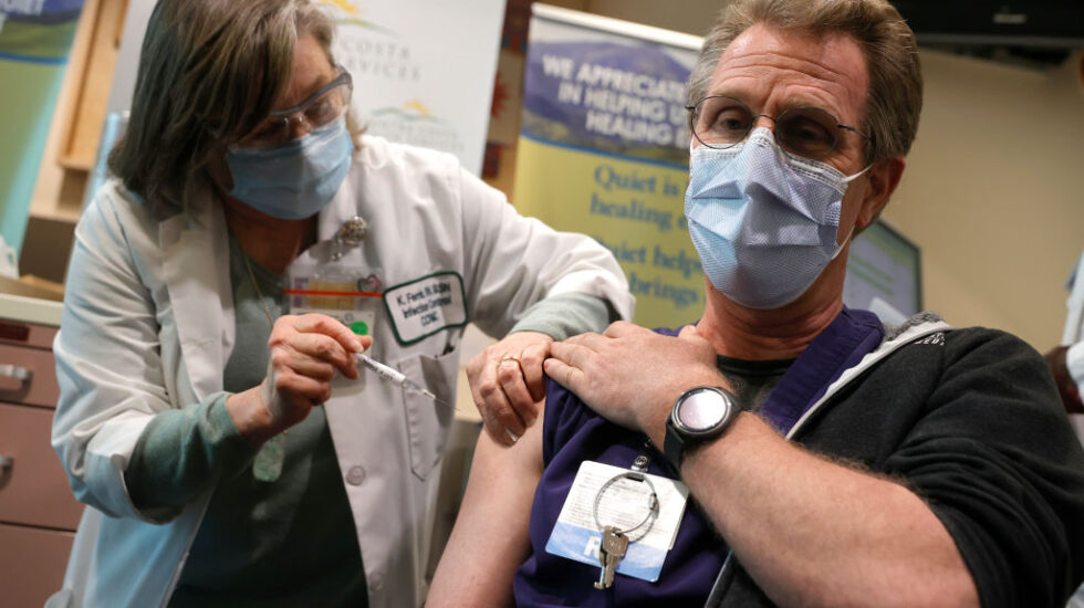 Healthcare Workers Receive COVID Vaccine At Contra Costa Regional Medical Center